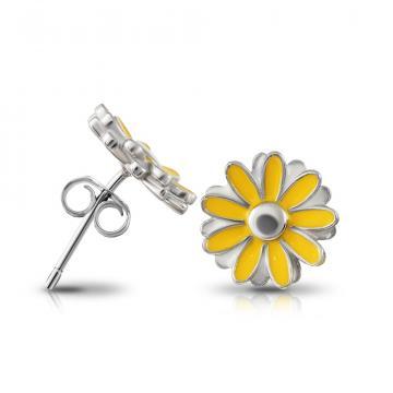 Серьги-пусеты Цветок из серебра с эмалью