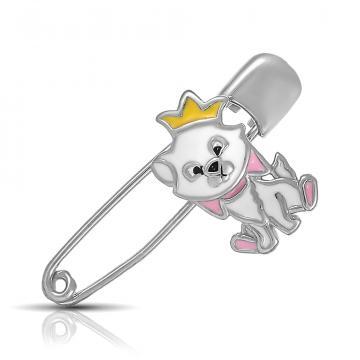 Брошь-булавка Собачка из серебра с эмалью
