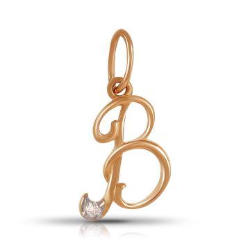 Подвеска TALANT буква В из золота с бриллиантом