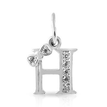 Подвеска буква Н с фианитами из серебра