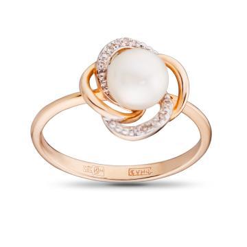 Кольцо с жемчугом и бриллиантами из золота