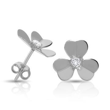 Серьги-пусеты TALANT Цветок из серебра с фианитами