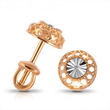 Серьги-пусеты из золота с бриллиантом