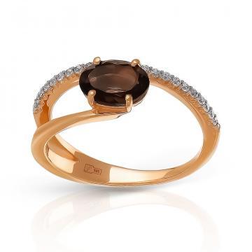 Кольцо TALANT из золота с раух-топазом и фианитами