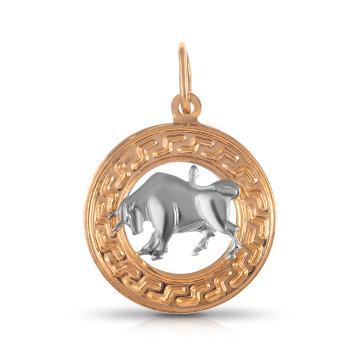 Подвеска из золота, знак зодиака Телец