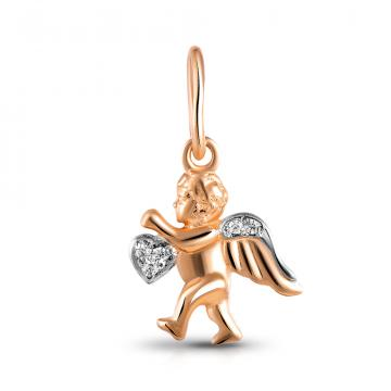 Подвеска Ангел из золота с фианитом