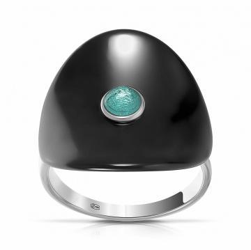 Кольцо из серебра с керамикой и кварцем
