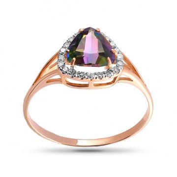 Кольцо из золота с кварцем и бриллиантами