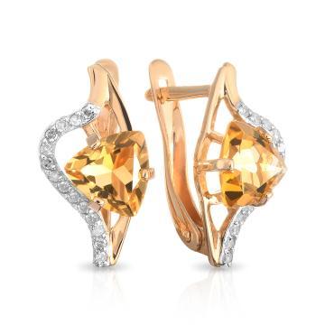 Серьги из золота с цитрином и бриллиантами