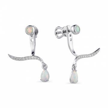 Серьги-пусеты из серебра с опалом и фианитами
