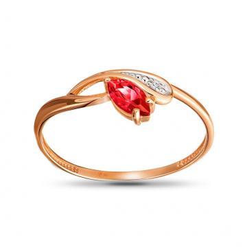 Кольцо из золота с рубином и бриллиантом