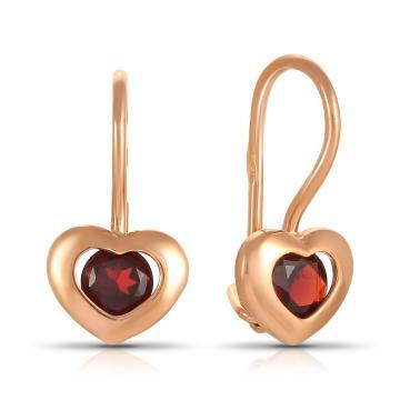 Серьги Сердце из золота с гранатом