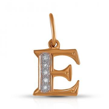Подвеска SOKOLOV буква Е из золота с фианитами