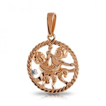 Подвеска TALANT из золота с фианитом, знак зодиака Близнецы