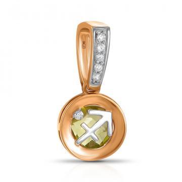 Подвеска из золота с хризолитом и фианитами, знак зодиака Стрелец