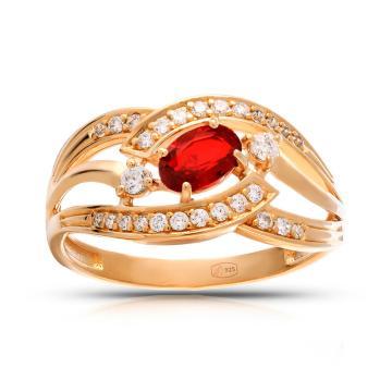 Кольцо с ювелирным кристаллом и фианитами из серебра