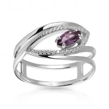 Кольцо из серебра с ювелирными кристаллами и фианитами
