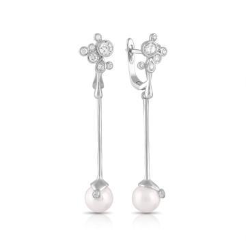 Серьги из серебра с жемчугом и фианитами
