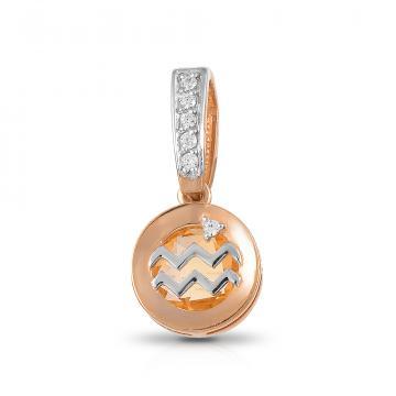 Подвеска из золота с цитрином и фианитами, знак зодиака Водолей