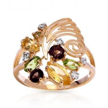 Кольцо TALANT из золота с цитринами, хризолитами, раух-топазами и фианитами