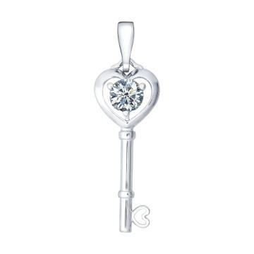 Подвеска SOKOLOV Ключ из серебра с фианитом