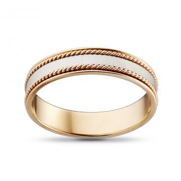 Кольцо обручальное из золота Косы, премиум, 5 мм