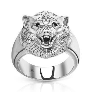 Кольцо-печатка SOKOLOV Волк из серебра с фианитами
