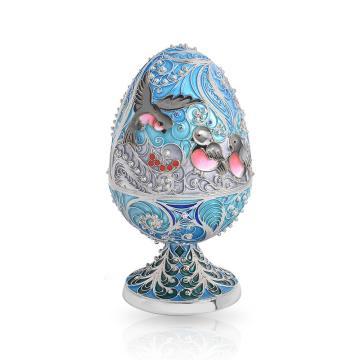 Шкатулка-яйцо Снегири из серебра с эмалью и ювелирными кристаллами