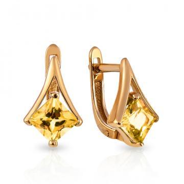 Серьги с цитрином из золота
