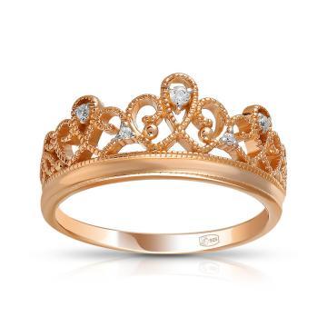Кольцо TALANT Корона из серебра с фианитами