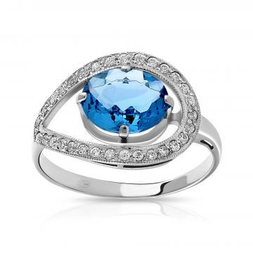 Кольцо с кристаллом и фианитами из серебра