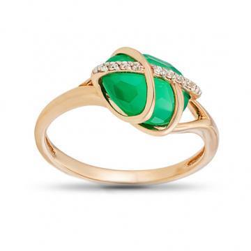 Кольцо с агатом и фианитами из золота