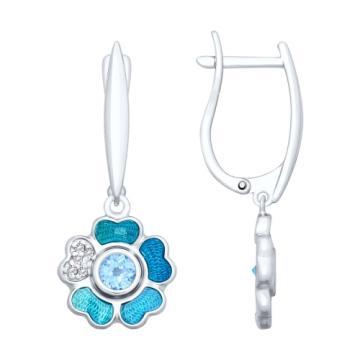 Серьги SOKOLOV Цветок из серебра с топазом, эмалью и фианитами