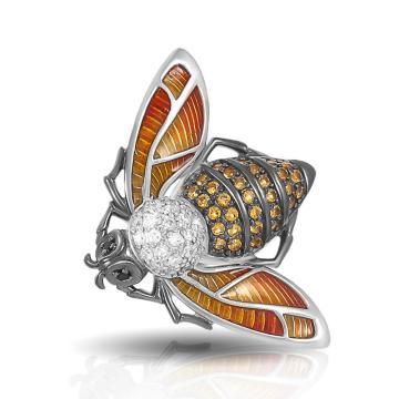 Брошь Пчела из серебра с эмалью и фианитами