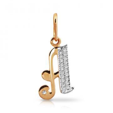 Подвеска буква А из золота с фианитами