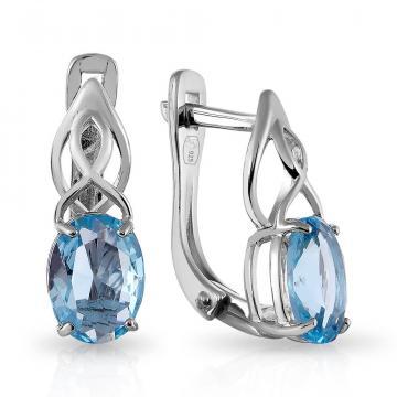 Серьги из серебра с ювелирным кристаллом