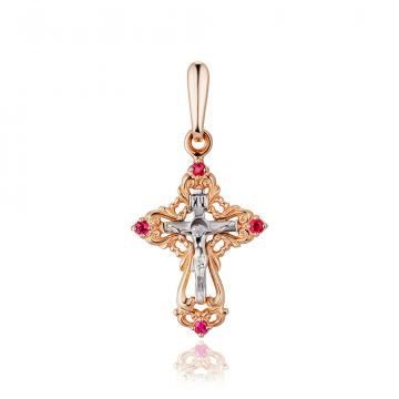 Крестик с рубинами из золота