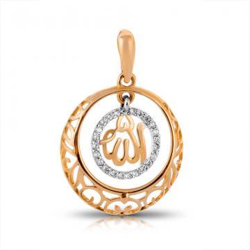 Подвеска  из золота мусульманская с фианитами