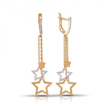 Серьги Звезды из золота с фианитами