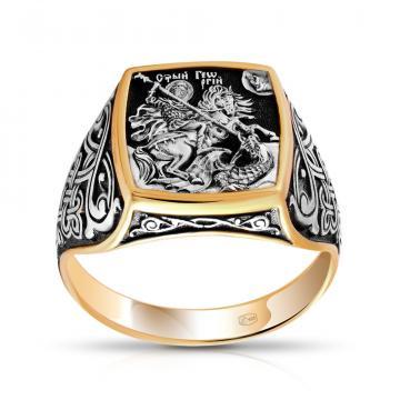 Кольцо Великомученик Георгий Победоносец из серебра