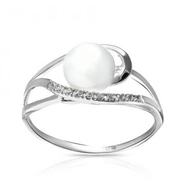 Кольцо с жемчугом и фианитами из серебра