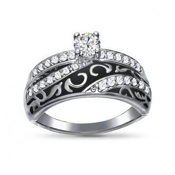 Кольцо из серебра SOKOLOV с эмалью и фианитами