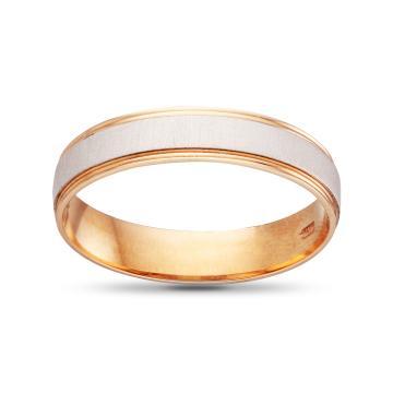 Кольцо обручальное из золота, гладкое, синтеринг, 4мм