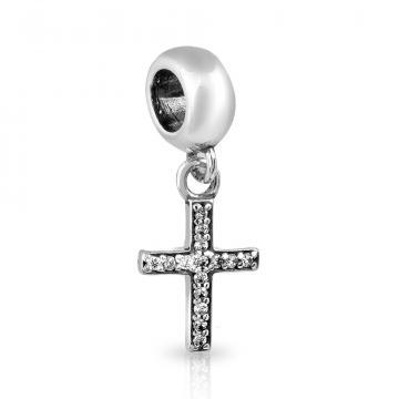 Подвеска-шарм Крест из серебра с фианитами