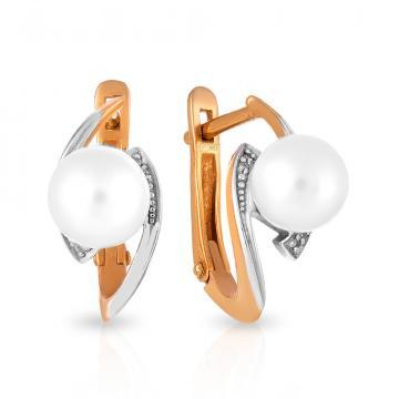 Серьги из золота с жемчугом и бриллиантами
