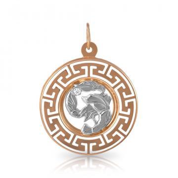 Подвеска из золота с фианитом, знак зодиака Рак