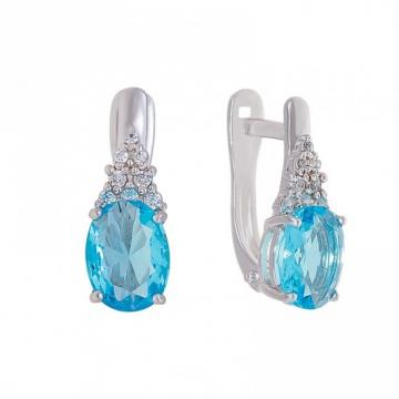 Серьги из серебра с ювелирным кристаллом и фианитами