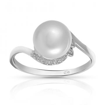 Кольцо из серебра с жемчугом и фианитами