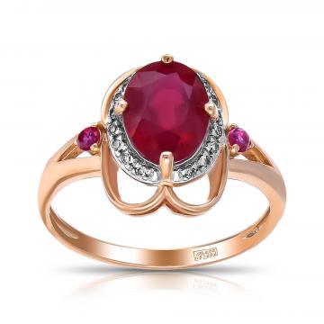 Кольцо из золота с рубинами и бриллиантами