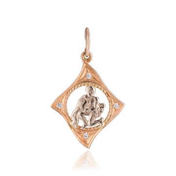 Подвеска из золота с фианитами, знак зодиака Водолей